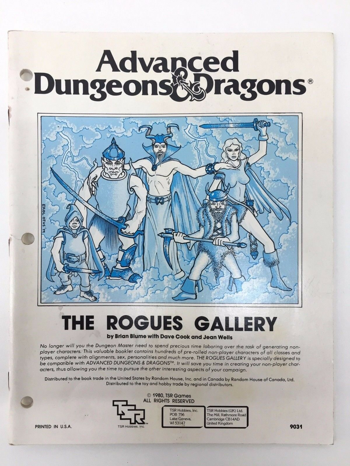 TSR ADVANCED DUNGEONS & DRAGONS THE ROGUES GALLERY RANDOM CHARACTER 9031 1980