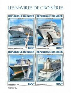 Niger - 2019 Cruise Ships & Sea Birds - 4 Stamp Sheet - NIG190210a