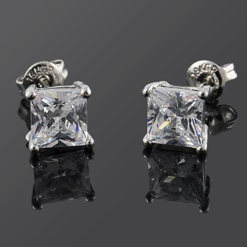 1pair Luxe Femmes Hommes solide en cristal de diamant carré oreilles Boucles d/'o