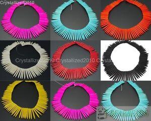 Howlite-Turquoise-Gemstone-Graduated-Stick-Spike-Choker-Necklace-Beads-16-039-039-Pick