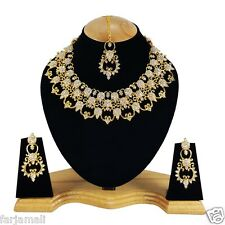 Bollywood Style Gold Plated Party wear Kundan Zerconic Designer Necklace Set