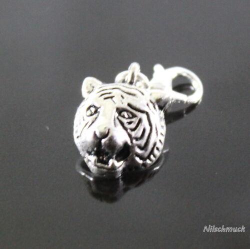 Löwen Kopf Charm Anhänger Silber mit Karabiner Verschluss 18mm