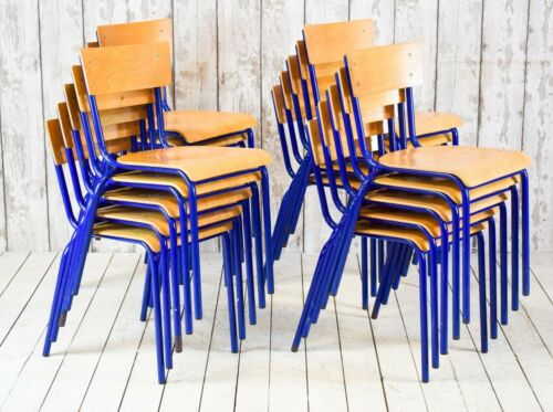 Job Lot of 20 Vintage French Stacking Café Bar School Chairs Blue Frame