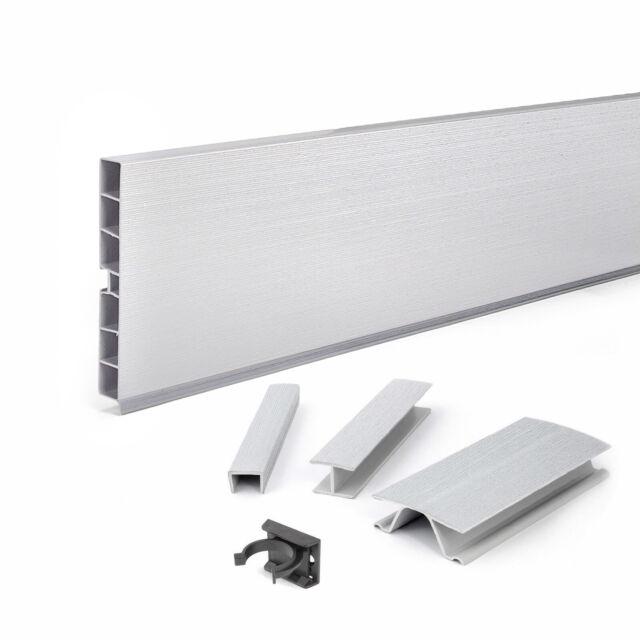 1.5m BRUSHED ALUMINIUM KITCHEN KICKBOARD SYSTEM PVC link end-piece corner clips
