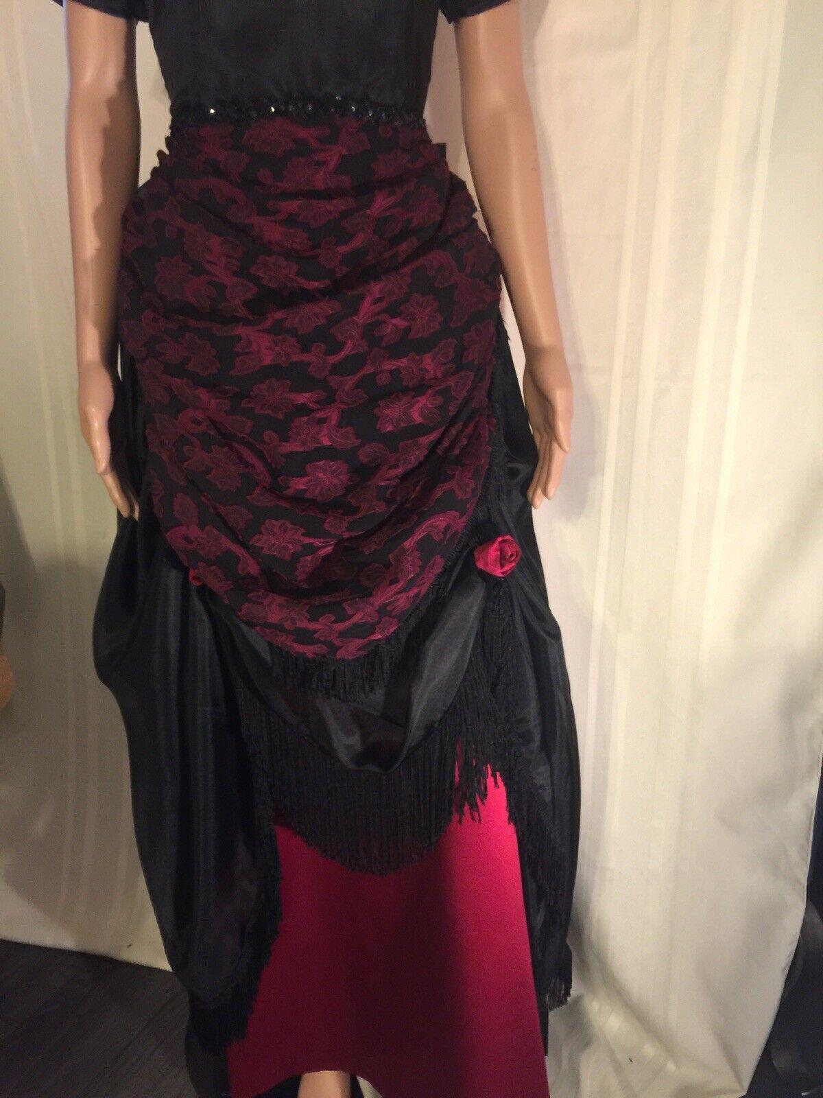 Victorian Black & Burgundy Western Bustle Dress S… - image 3