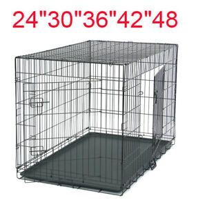 24-034-30-034-36-034-42-034-48-034-Pet-Cat-Dog-Folding-Steel-Crate-Playpen-Wire-Metal-Two-doors