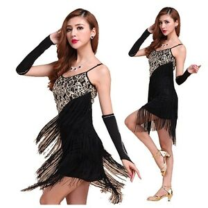 fba2b08784d02 Latin Dance Dress Salsa Tango Cha cha Ballroom Dance Sequin Fringe ...