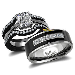 His-and-Hers-Titanium-Stainless-Steel-CZ-Bridal-Matching-Wedding-Ring-Set