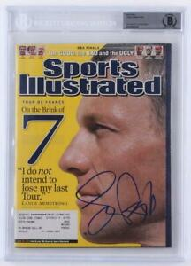 Lance-Armstrong-SIGNED-2005-Sports-Illustrated-Magazine-Beckett-Encapsulated