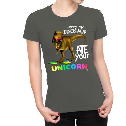 1Tee Womens Sorry My Dinosaur Ate Your Unicorn T-Rex T-Shirt