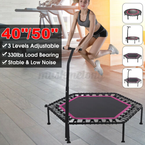 40//50 inch Fitness Trampoline Rebounder With 3 Levels Adjustable Handle Bar