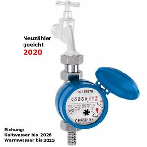 Wasserzahler Fur Zapfhahn Kalt Warm 3 4 Ig Mit 1 2 Neu Geeicht Gartenwasser Ebay