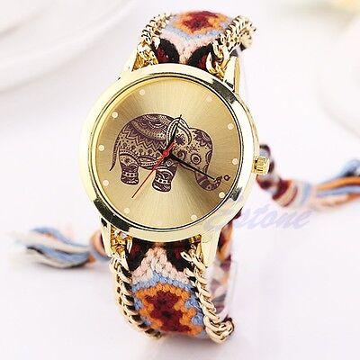 Women Geneva National Braid Bracelet Round Dial Chain Quartz Analog Wrist Watch