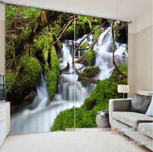 3D Creek Mosses Blockout Photo Curtain Printing Curtains Drapes Fabric Window CA