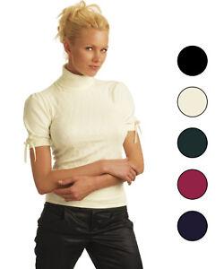 vendita calda online a4ca6 12e17 Dettagli su Maglia Lana angora Manica corta nastrino Collo Alto verde rosa  nero viola Sensì