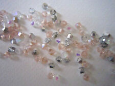 100 Austrian Crystal Glass Bicone Beads - WhiteAB/PinkAB/Half Silver Mix - 4mm