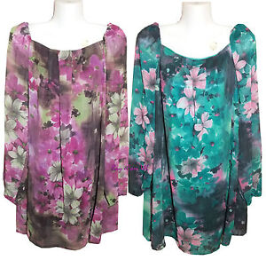 New-Ladies-Floral-Print-Pleat-Front-Tunic-Top-Shirts-UK-Size-8-to-16-Clearance