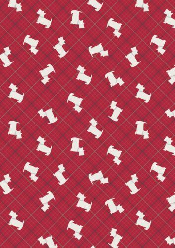 A337.2 Lewis /& Irene Celta reflexiones Rojo Scotty Dog comprobar Plata 100/% algodón