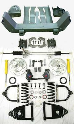 Helix Mustang II Front End IFS Suspension Conversion Kit Manual RHD Rack Stock Spindles Shock through Coil 5x4.75 Lug Pattern Wave Rotors Raw Calipers X-Member For 47-54 Chevy Truck