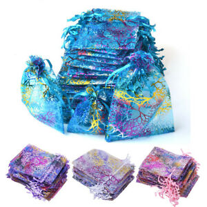 50-100-200-Sheer-Coralline-Organza-Favor-Gift-Bags-Jewelry-Pouches-Wedding-Party