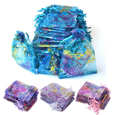 """100 50 3/""""x4/"""" Coralline Organza Jewelry Pouch Wedding Party Favor Gift Bag"""
