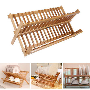 Image is loading New-2-layer-Bamboo-Wooden-Dish-Drainer-Plate-  sc 1 st  eBay & New 2 layer Bamboo Wooden Dish Drainer Plate Cutlery Dryer Rack ...