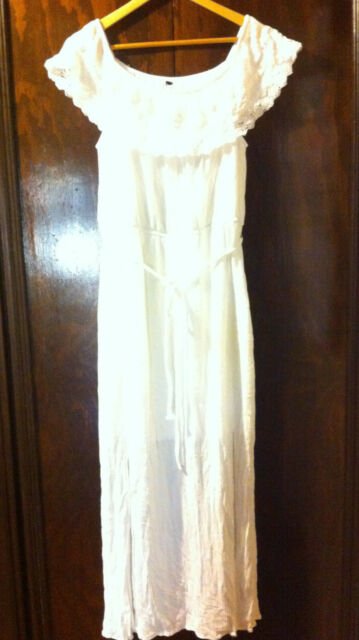 SEXY CROSSROADS WHITE OFF THE SHOULDER PEASSANT DRESS SIZE: 12-16? BNWOT