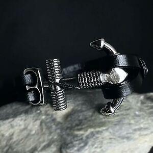 Edelstahl-Leder-Biker-Herren-Damen-Maenner-Armband-Armkette-Kette-Wikinger-Anker