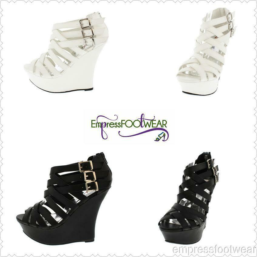 WHITE WOVEN PEEP TOE BUCKLE WEDGE PLATFORM WEDGE BUCKLE d34e44