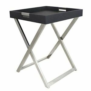 Black-Eel-Chrome-Stand-Butlers-Tray-Table-Bedside-Table-Hallway-Detachable-Fold