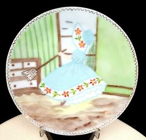 """STUBBS HAND PAINTED MILK GLASS CLEANING MAIDEN & GILT 7 7/8"""" PORTRAIT PLATE"""