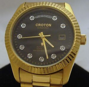 Men-039-s-Croton-Watch-Genuine-DIAMONDS-Japan-Movement-Water-Resistant-Steel