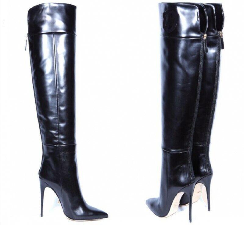 Damenschuhe Reißverschluß Pumps Overkneestiefel Spitz Stiletto High Heels Sexy