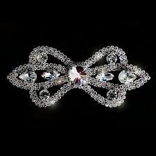 Diamante Motif Applique Rhinestone Sew on Wedding Silver Crystal Patch A145