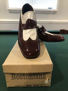 Bostonians Vintage NOS NIB Men Shoes Sz  10 D White Brown Slip on's 70's retro