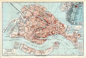 Venedig Karte.Details Zu Venedig Die Stadt D Kanale Platze Brucken Wappen Palaste Denkmaler Karte 1892