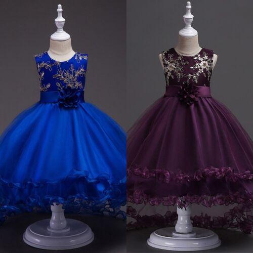 US Toddler Kids Girl Princess Dress Flower Wedding Party Pageant Formal Dresses