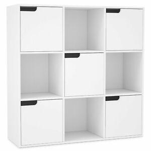 Meuble De Rangement Bibliotheque Etagere En Bois Cube 9 Cases Bois Avec 5 Portes Ebay