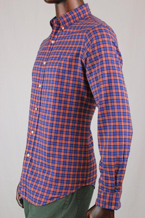 Ralph Lauren Long Sleeve Buttondown Dress Shirt Orange Blau Plaid NWT