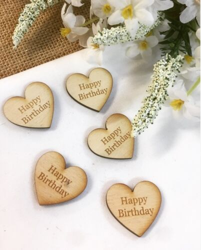 'Happy Birthday' Rustic Wood Engraved Birthday Party Table Decorations