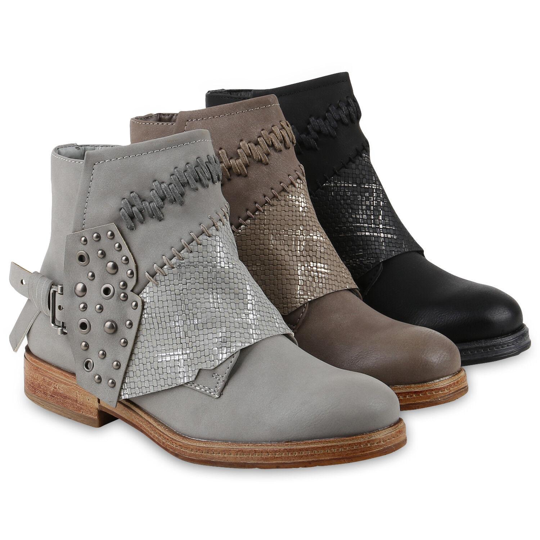 Damen Stiefeletten Schnürstiefele<wbr/>tten Nieten Schnallen 818210 Schuhe