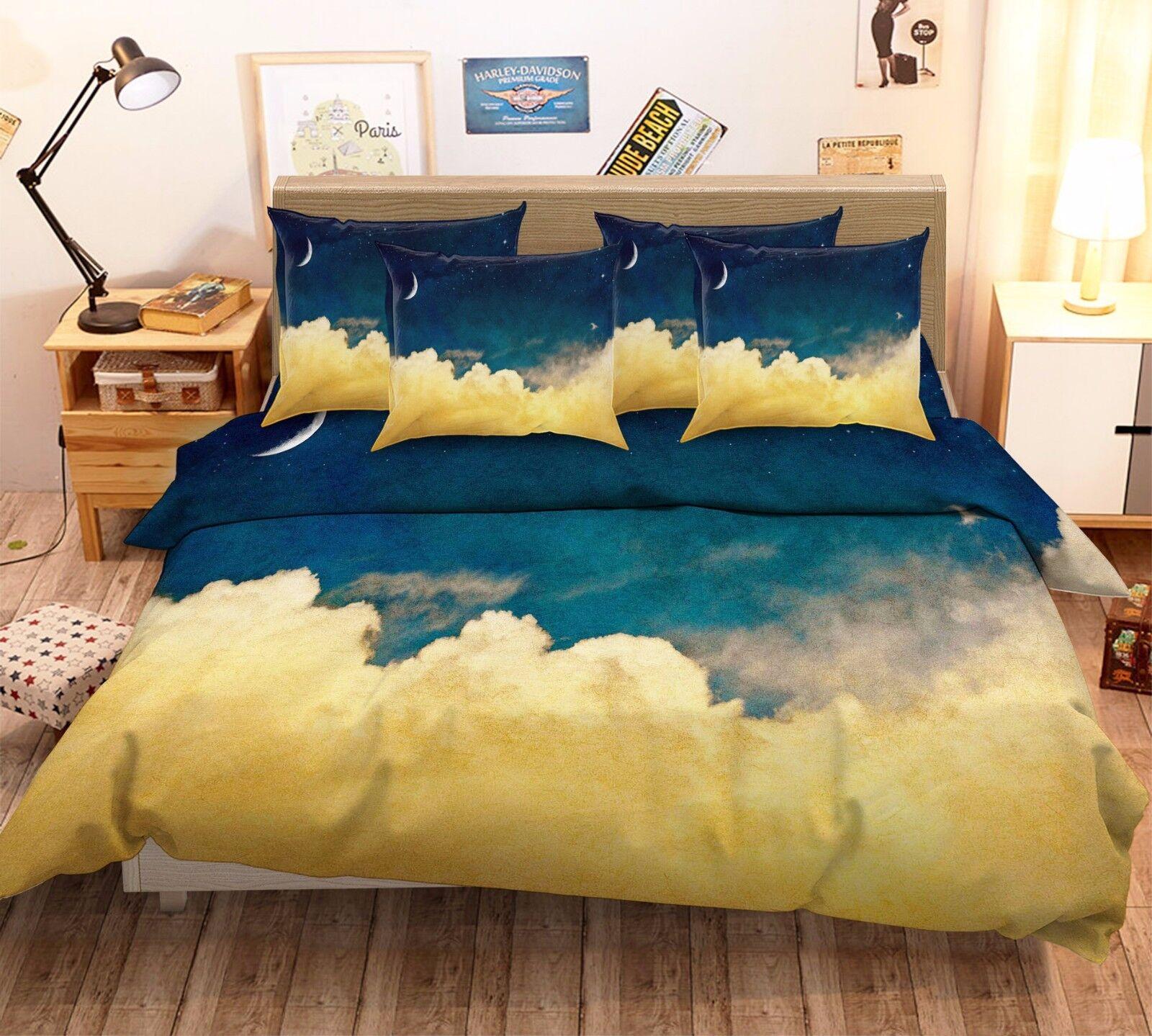 3D Moon Clouds Stars 7 Bed Pillowcases Quilt Duvet Cover Set Single Queen AU