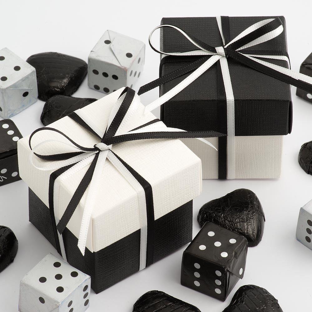 La soie noir & blanc soie deux deux deux tons carré & couvercle faveur nuptiale parti boîtes | En Qualité Supérieure  c48642