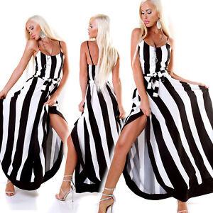 buy online f4e7e eb161 Dettagli su Maxi Abito lungo vestito donna elegante righe verticali bianco  nero nuovo