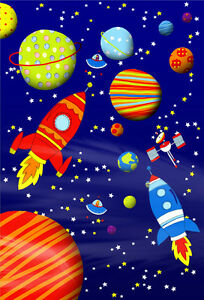 Image Is Loading Outter Space Ship Planets Amp UFOs Rockets Childrens