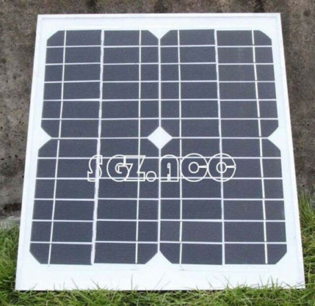 10 WATT MONOCRYSTALLINE SOLAR PANEL 10 WATTS 12V PV WITH DIODE & Alligator Clips