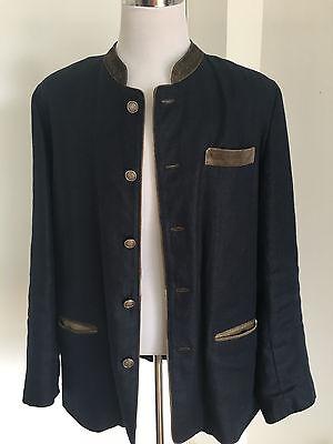 Edles Herren Trachten Jacket / Janker / Jacke Leinen & Leder NEU Gr. 58 XXXL 3XL