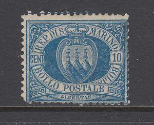 San Marino Sc 7a MNH. 1890 10c blue Coat of Arms, Scarce