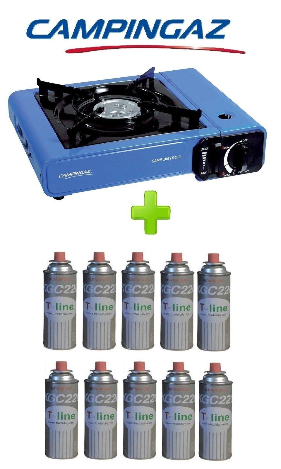 FORNELLO PORTATILE A GAS BISTRO CAMPINGAZ CON CON CON VALIGETTA +  10 CARTUCCIE A GAS - 2f9e87