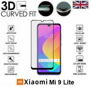 Per-Xiaomi-9-Lite-COMPLETO-Mi-VETRO-TEMPERATO-3D-9H-COVER-Protezione-Schermo-Bordo-Nero